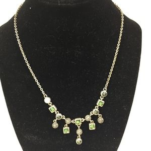 Jewelry - SILVER NECKLACE WITH GREEN STONE & SILVER charms